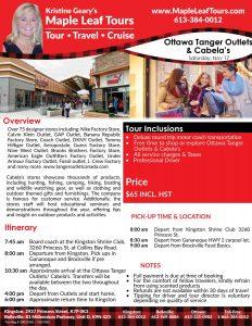 Ottawa Tanger Outlets Cabelas Maple Leaf Tours